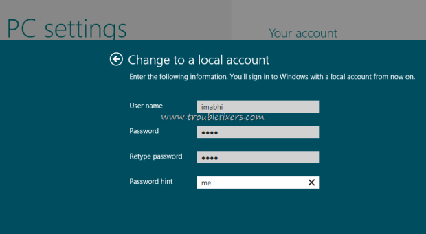 Add a Local Account in Windows 8