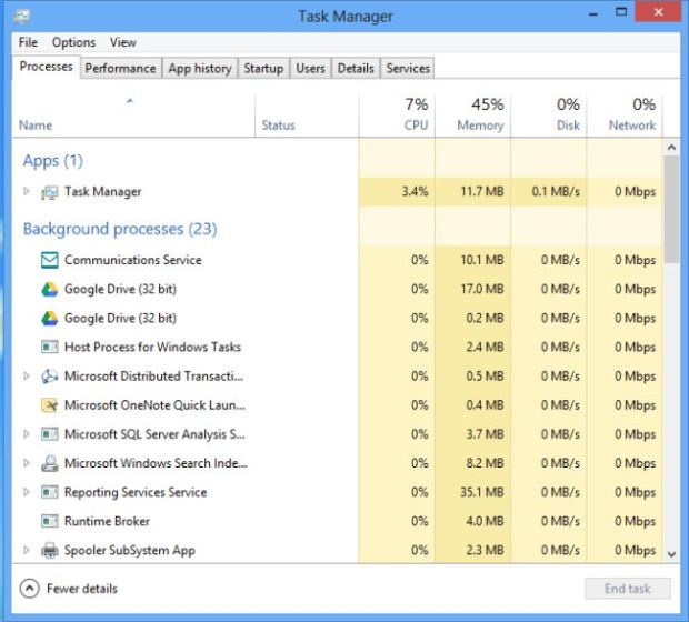 Windows 8 Task Manager Process Details