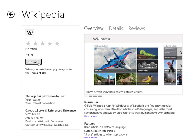 App Details Page in Windows Store in Windows 8