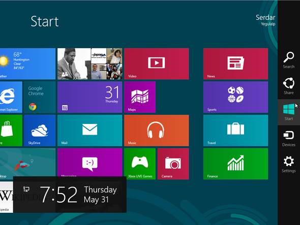 Windows 8 Metro Interface Charms